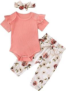 Sponsored Ad - Gouldenhui Baby Girls` 3PCS Newborn Clothes Set Long Sleeve Bodysuits Romper Floral