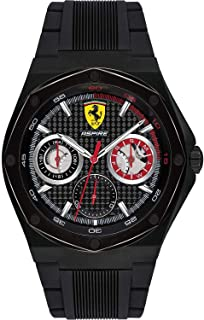 Ferrari Mens Quartz Watch, Chronograph Display and Silicone Strap 830538