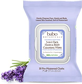 Babo Botanicals 3-in-1 Calming Wipes French Lavender, 4 X 30 Count (Pack of 1)