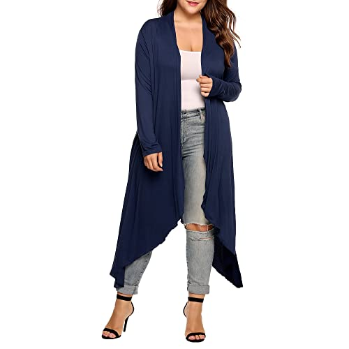 bdd43a18fce Women s Plus Size Long Sleeve Waterfall Asymmetric Drape Open Long Maxi  Cardigan