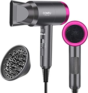 Hair Dryer for Travel&Home, 1600W Lightweight Negative Ionic Hair Blow Dryer, 3 Heat Settings, Cool Settings, Diffuser and Concentrator Nozzles