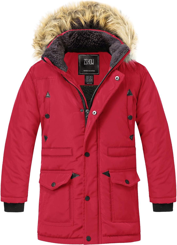 ZSHOW Boys' Hooded Puffer Jacket Thick Fleece Winter Coat Windproof Parka