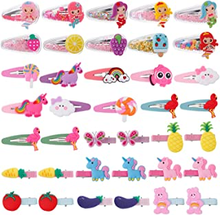 28 PCS Aassorted Hair Clips for Kids Goody-Candy Color Hair Clips for Girls Todders-Decorative Hair Barrettes for Girls-No Slip Metal Snap Hair Clips for Baby Girls Cute (Fruit Vegetable Animals)