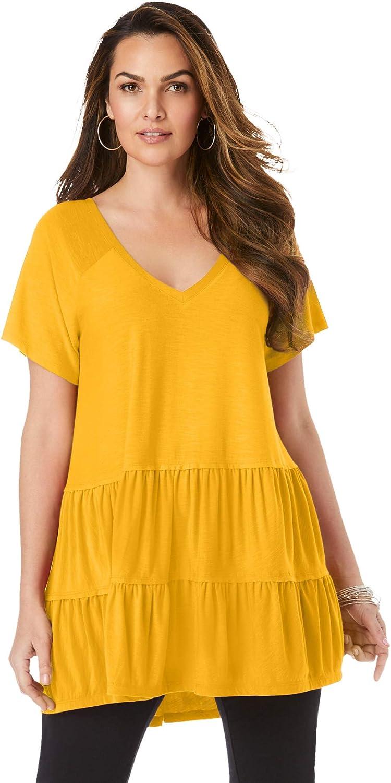 Roamans Women's Plus Size Tiered Slub Ultra Femme Tee Shirt - 14/16, Sunset Yellow