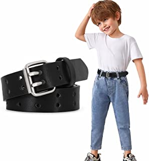 Kids Boys Two Hole PU Leather Belt for Girls Teens with Double Prong Pin Buckle
