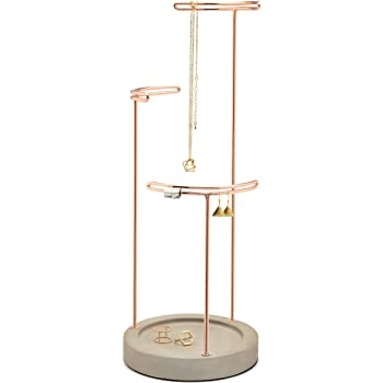 Umbra Tesora, 3 Tier Jewelry Stand, Earring Holder, Accessory Organizer and Display, Copper/Concrete (Renewed)