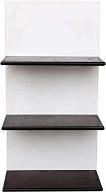 Home Sparkle 3 Tier Wall Shelf (White and Brown)