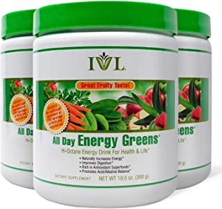 IVL Hi-Octane All Day Healthy Energy Greens Powder, 30 Servings per Canister, Fruity Flavor (Pack of 3)
