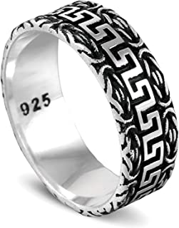 chimoda Mens Silver 9mm Band Ring with King's Chain and Zigzag Motif in 925 Sterling