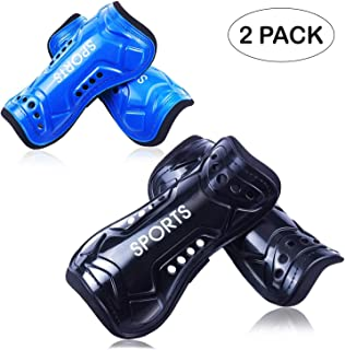 GeekSport Soccer Shin Guards Youth - 2 Pair 3 Sizes Shin Pads Child Calf Protective Gear 3-15 Years Old Girls Boys Toddler Kids Teenagers