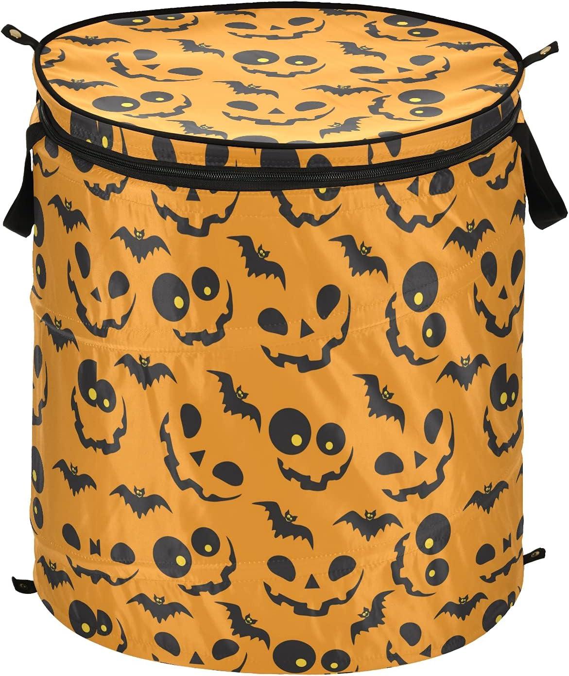 Halloween Orange Pumpkins Bats Pop Up 100% Elegant quality warranty Lid Hamper with Fo Laundry