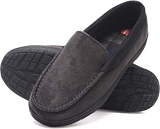 Hanes Men's Moccasin Slipper House Shoe with Indoor Outdoor Memory Foam Sole Fresh IQ Odor Protection