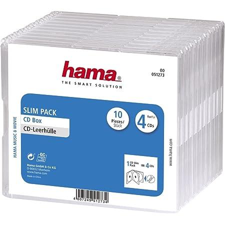 Hama CD Slim Pack 4 - Funda para CD (Capacidad de CD: 4 Discos), transparente