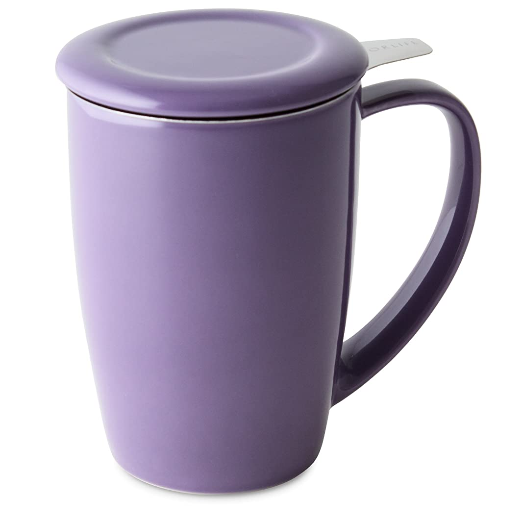 FORLIFE Curve Tall Tea Mug with Infuser and Lid, 15-Ounce, Purple