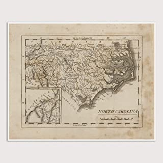 Old North Carolina Map Art Print, 1816, Archival Reproduction, Unframed