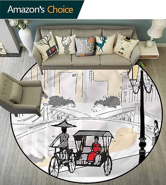 RUGSMAT 现代圆形地毯卧室素描新加坡剪影门垫室内浴室地垫防滑直径 47