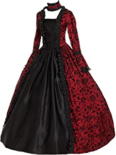 Renaissance Gothic Dark Queen Dress Ball Gown Steampunk Vampire Halloween Costume