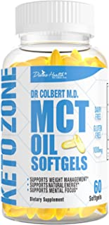 Dr.Colbert's Keto Zone All Natural MCT Oil Softgels 1000mg from Organic Coconuts - 60 Softgels - Ketogenic Approved