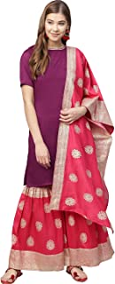 Ahalyaa Women Purple & Red Solid Kurti with Gharara & Dupatta