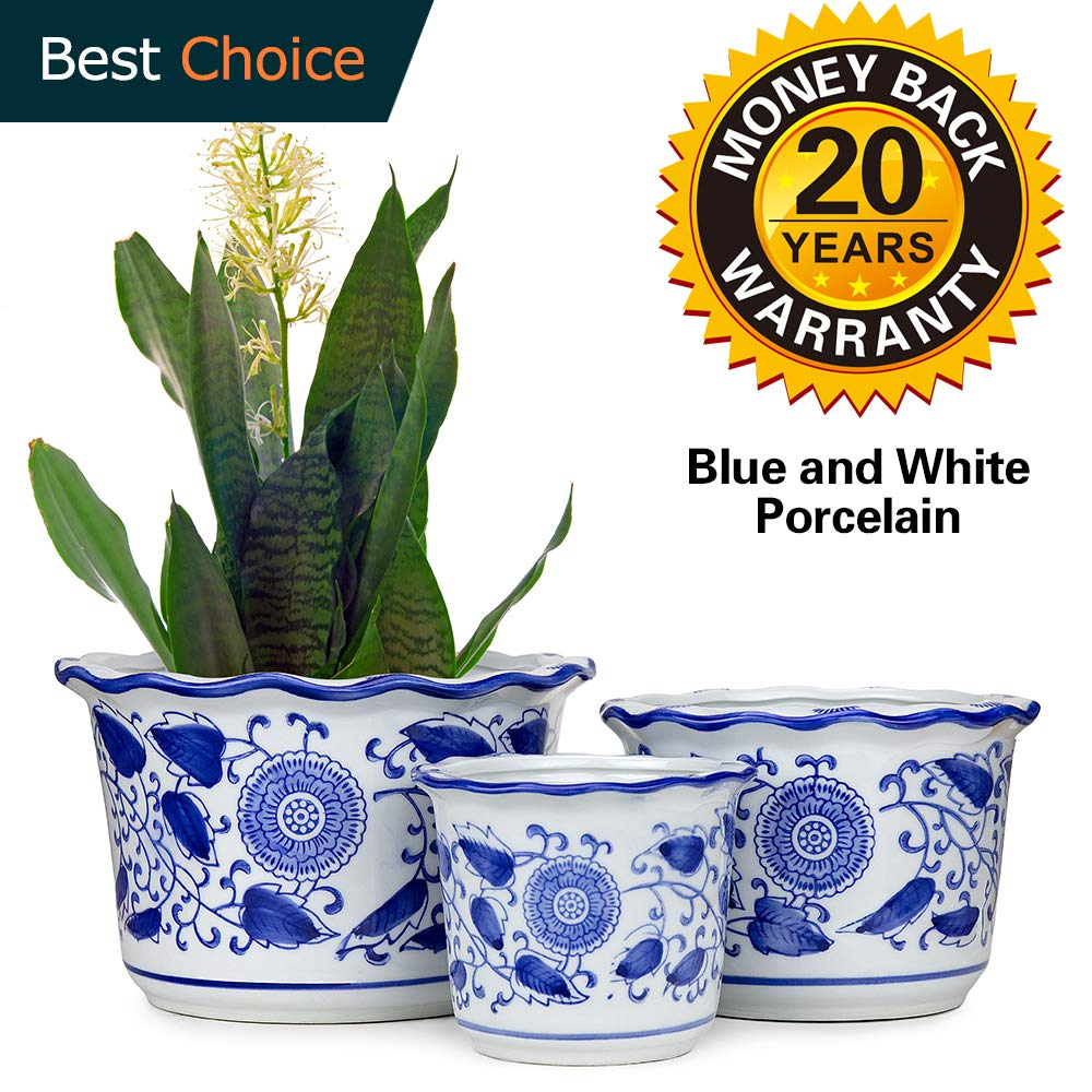 Porcelain Flower Pot Plant Pot Planter Indoor Outdoor Blue and White Ceramic Set Drainage Hole Small  sc 1 st  Amazon.com & Indoor Ceramic Flower Pots: Amazon.com
