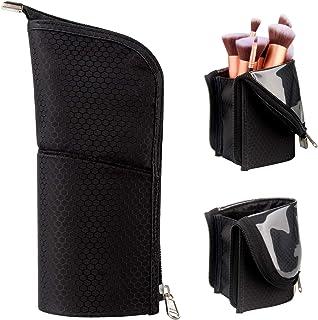 Samtour Makeup Brush Holder Organizer Bag Professional Artist Brushes Travel Bag Stand-up Makeup Cup Waterproof Dust-proof...