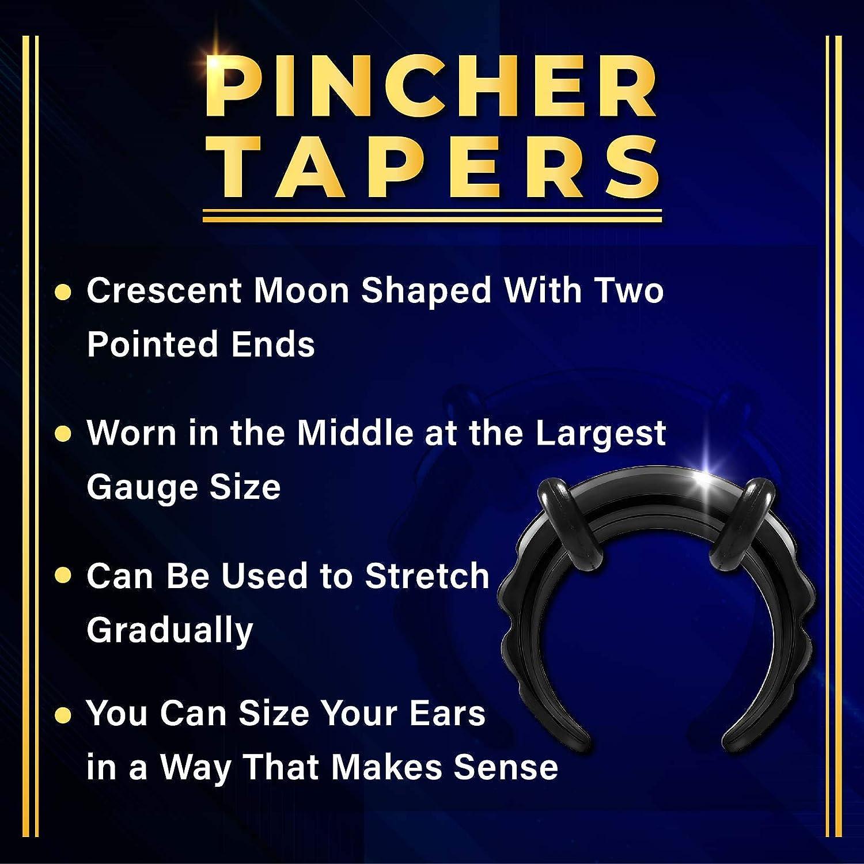 BIG GAUGES Pair of Black Anodized Taper Septum Double O-Rings Piercing Jewelry Ear Stretcher Plugs Flesh Earring Lobe