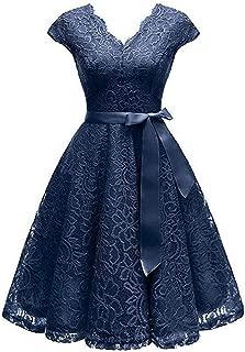 V-Neck Lace Knee-Length Women Dresses with Short Sleeves Dress for Women Female Vestidos Chic Cheapest Price