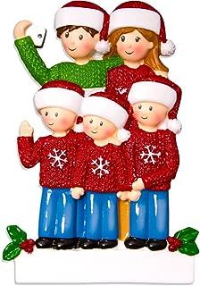 Personalized Selfie Family of 5 Christmas Tree Ornament 2019 - Take Self-Portrait Photo Smartphone Share via Social Media Hug Memory Ugly Sweater Winter Year - Free Customization