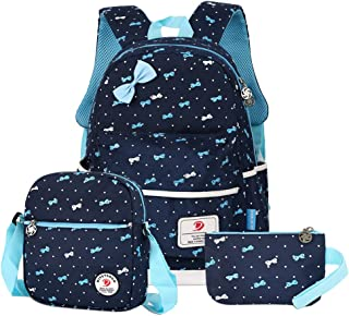 VBG VBIGER School Bags School Backpack Polka Dot 3pcs Waterproof Book Bag with Lunch Bags Purse Girls (Dark Blue)