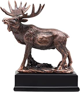 Ebros Gift The Emperor Bull Moose Statue Bronze Electroplated Figurine With Base Wildlife Elk Deer Family Decor