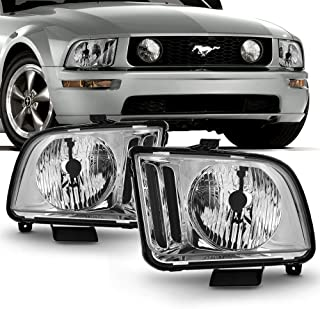 For 2005-2009 Ford Mustang Halogen Model Chrome Clear Lens Headlight Lamp Replacment L+R