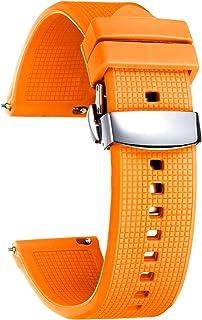 باندهای ساعت مچی سیلیکونی BINLUN تسمه های ساعت مچی لاستیکی ساعت مچی 18 میلی متر 20 میلی متری جایگزین باندهای ساعت هوشمند زنانه و مردانه (سفید / قرمز / سیاه / آبی / نارنجی)