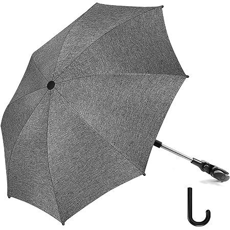 RIOGOO Sombrilla Sombrilla Sombrilla Universal 50+ UV Sombrilla de protección solar para bebés y bebés con manija de paraguas para cochecito, silla de paseo, silla de paseo y Buggy-Grey