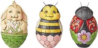 Enesco Jim Shore Heartwood Creek Set of 3 Critter Eggs, 2.5-inch High