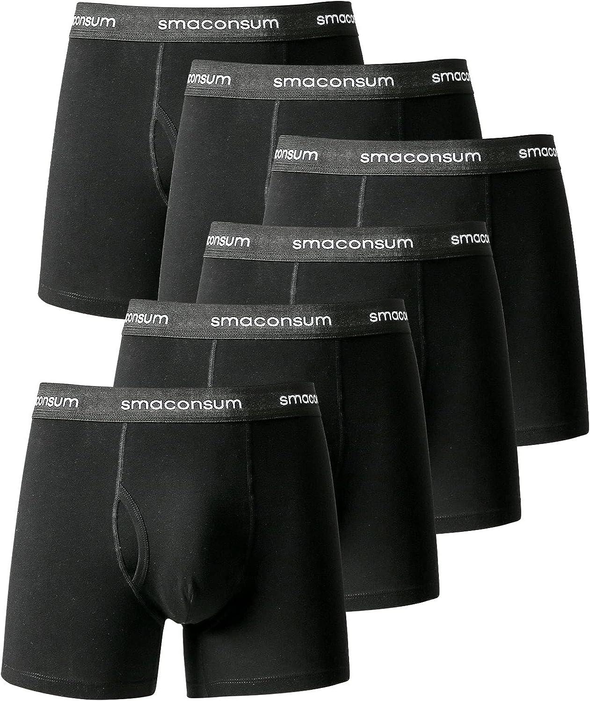 smaconsum Men's Boxer Briefs Tagless Cotton Briefs with Pouch No Ride Up