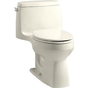 KOHLER 3810-47 Santa Rosa Comfort Height Elongated 1.28 GPF Toilet with AquaPiston Flush Technology and Left-Hand Trip Lever, Almond