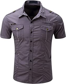 Men's Military Stylish Button Front Slim Fit Short Sleeve Cotton Shirts