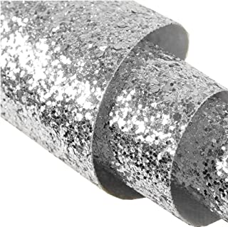 Self Adhesive Silver Chunky Glitter Wallpaper,Peel and Stick Roll Decor Sparkle Glitter Fabric (17.4in x 16.4ft (One Roll))