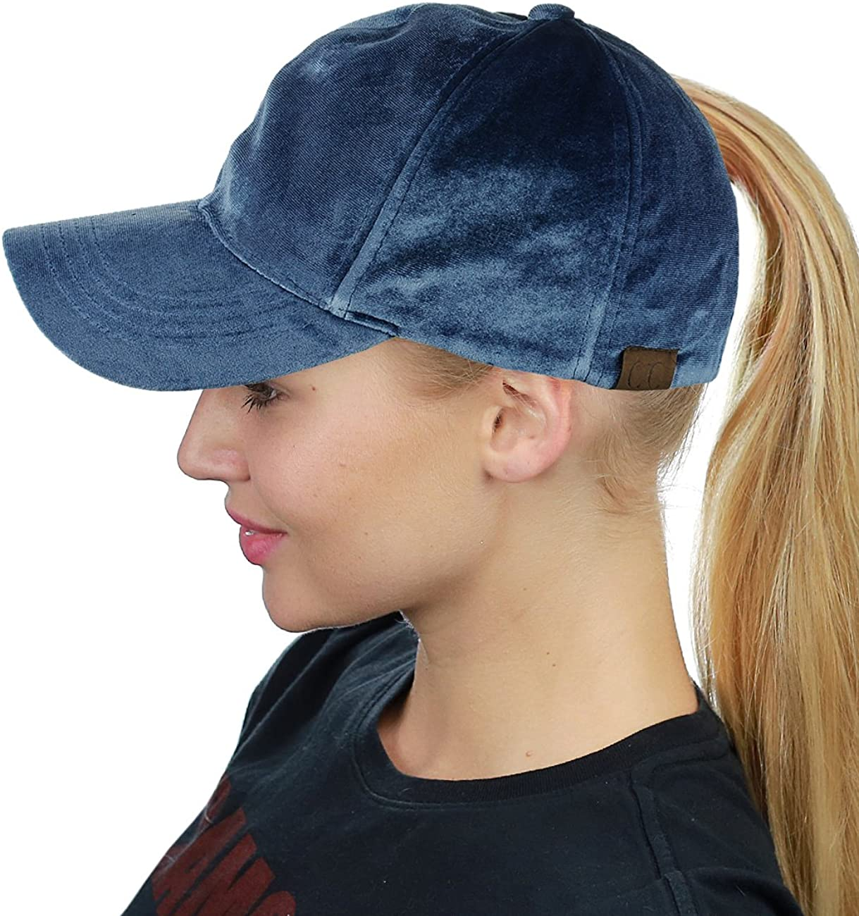 C.C Ponycap Messy High Bun Ponytail Soft Velvet Adjustable Baseball Cap Hat