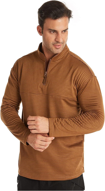 Men Slim Fit Lightweight Long Sleeve Pullover 1/4-zip fleece Top Turtleneck T-Shirt
