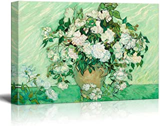 wall26 - Still Life: Vase with Pink Roses by Vincent Van Gogh - Canvas Print Wall Art Famous Painting Reproduction -24