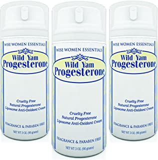 Wild Yam Progesterone Cream (Bioidentical) with Chaste Tree Berry (Vitex) Paraben Free, Fragrance Free, Non GMO, Pack of 3...