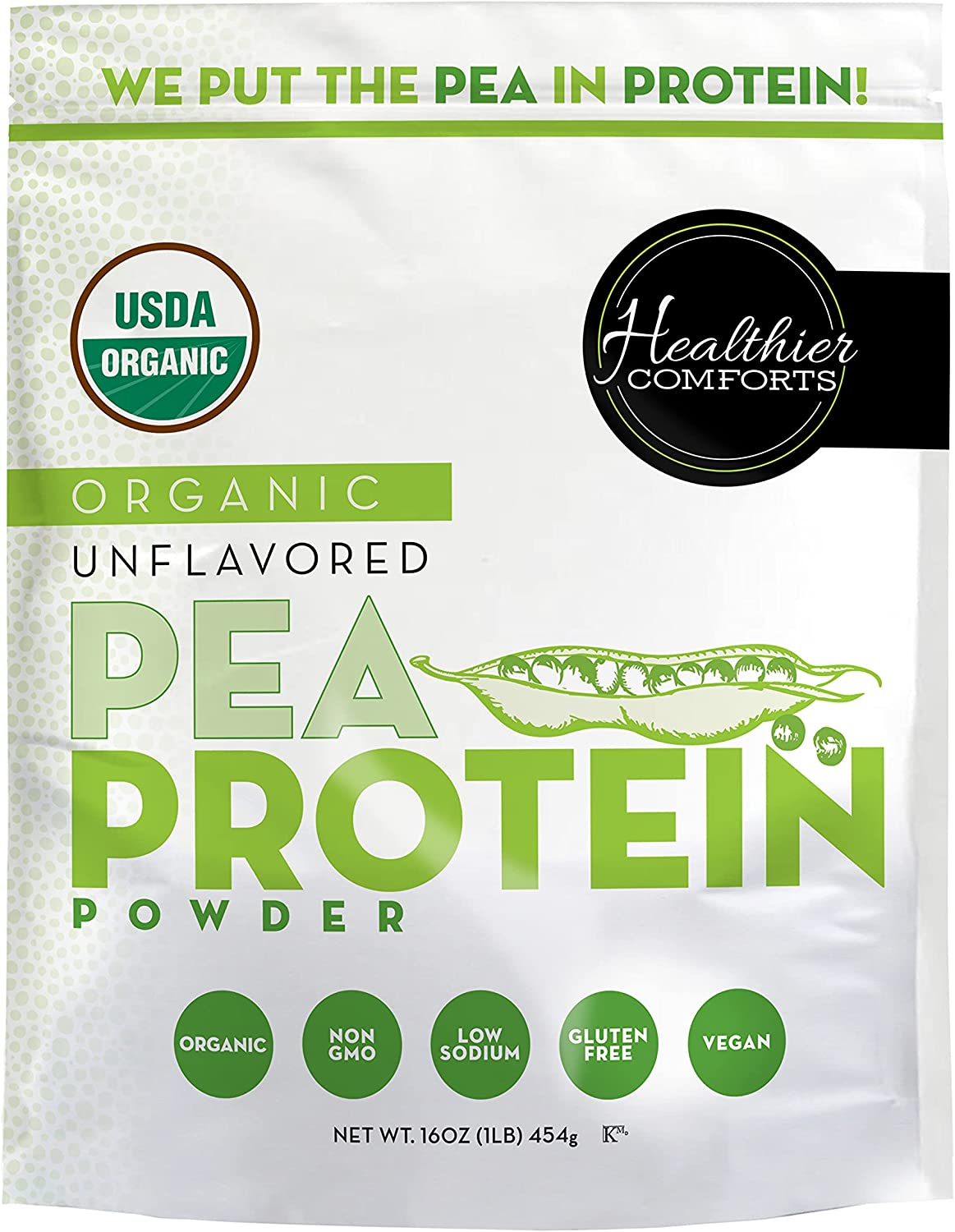 OFFicial site Healthier Comforts Organic Pea Protein 1 100% lb. Gro Powder Limited price sale