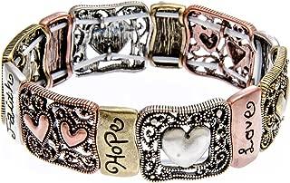 Inspirational Jewelry - Hope Faith Love Inspirational Stretch Bangle Bracelet