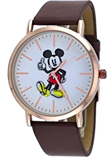 Disney MK1523 Unisex Gold Tone Brown Band Minimalist Styling Mickey Mouse Thumbs Up Watch