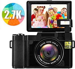 Digital Camera Camcorder Full HD 2.7K 24MP Video Camcorders Vlogging Camera with Retractable Flash Light YouTube Camera with Flip Screen (G04)