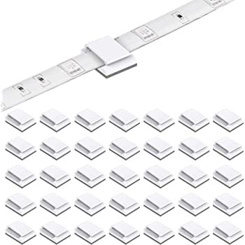 KINBOM 100Pcs Strip Light Mounting Clips Self Adhesive Strip Light Fixture Brackets Holder Wire Management Clip for 10mm 3//8 Wide LED Strip Light