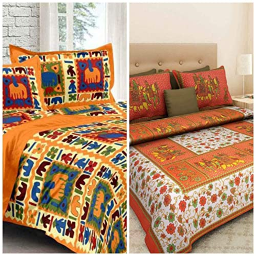 Jaipur Prints 100% Cotton 2 Rajasthani Tradition King Size Double Bedsheet with 4 Pillow Cover (Pink)