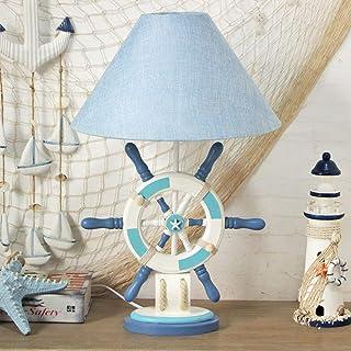 Lampe de Table Personnalité en bois méditerranéenne créative chambre d'enfants chambre lampe de table de chevet lampe de t...