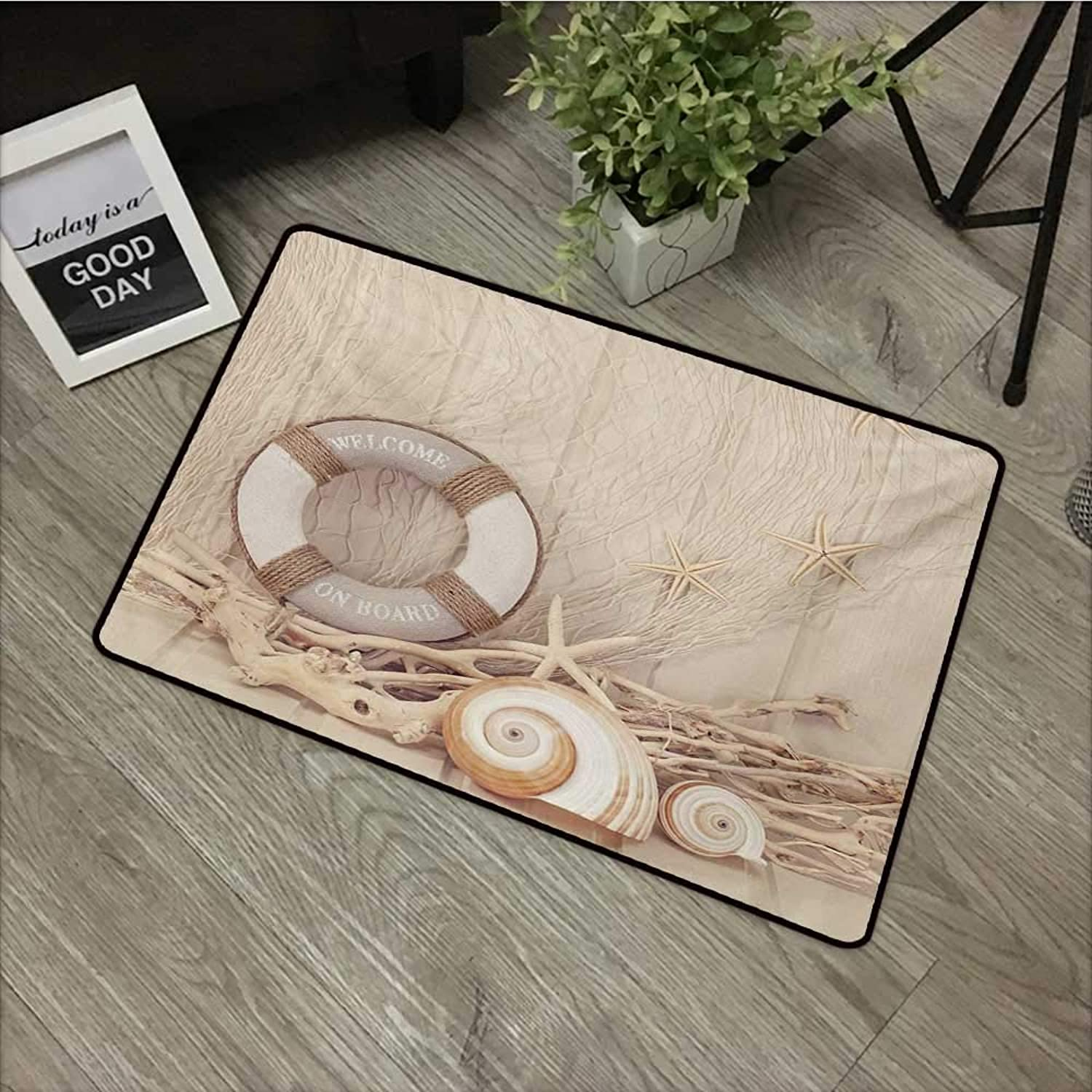 Floor mat W35 x L59 INCH Coastal,Welcome On Board Life Buoy Wooden Sepia Fishnet Holiday Maritime Theme Print,Tan Beige White Non-Slip, with Non-Slip Backing,Non-Slip Door Mat Carpet